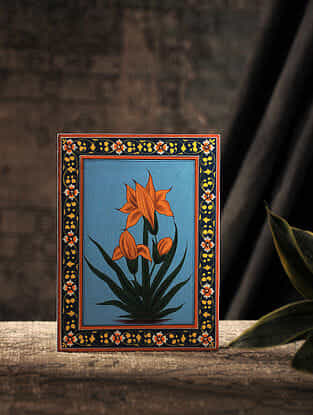 Multicolored Hand-painted Wood Painting with Floral Motif (L:8in, W:5.7in)