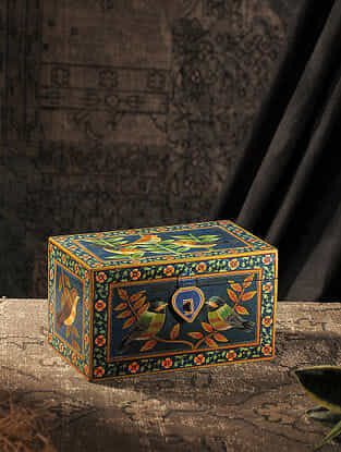 Multicolored Hand-painted Wood Box (L:5.7in, W:10in, H:6in)