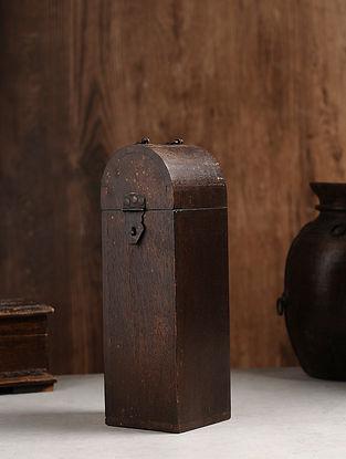 Vintage Hand Carved Wood Bottle Case (L:4.3in, W:4.3in, H:13.5in )
