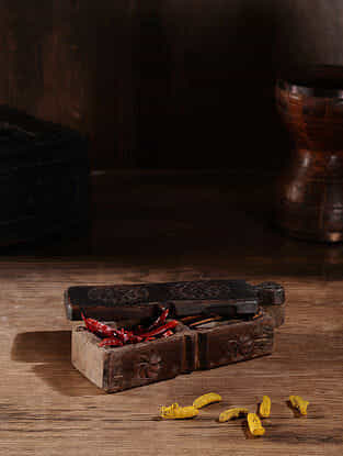 Vintage Hand Carved Wood Spice Box (L:10.6in, W:3.2in, H:2.3in )