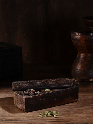 Vintage Hand Carved Wood Spice Box (L:10.5in, W:3.6in, H:2.6in )