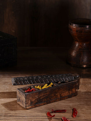 Vintage Hand Carved Wood Spice Box (L:11.7in, W:2.7in, H:3.2in )