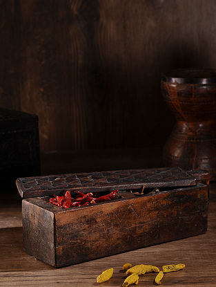 Vintage Hand Carved Wood Spice Box (L:14in, W:4.2in, H:4in )