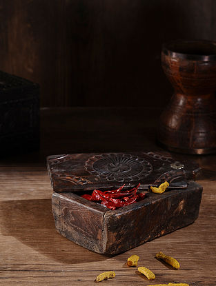 Vintage Hand Carved Wood Spice Box (L:11.5in, W:6in, H:3.5in )