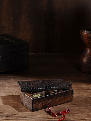 Vintage Hand Carved Wood Spice Box (L:9.6in, W:3.7in, H:2.6in )