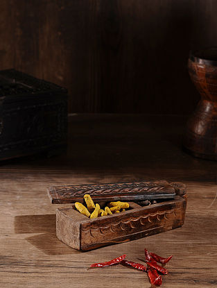 Vintage Hand Carved Wood Spice Box (L:10.5in, W:3.1in, H:2.5in )