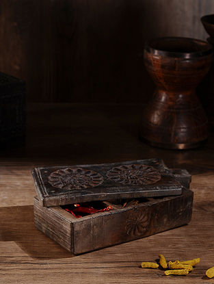 Vintage Hand Carved Wood Spice Box (L:12in, W:5.5in, H:3in )