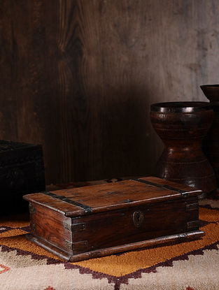 Vintage Hand Carved Wood Cash Box (L:12.5in, W:8.5in, H:4in )