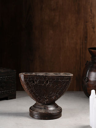 Vintage Hand Carved Wood Seeder Candle Stand (L:9.7in, W:6in, H:8in )