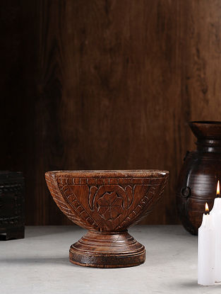 Vintage Hand Carved Wood Seeder Candle Stand (L:10in, W:6.2in, H:7.5in )