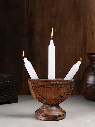 Vintage Hand Carved Wood Seeder Candle Stand (L:9in, W:6in, H:7.6in )