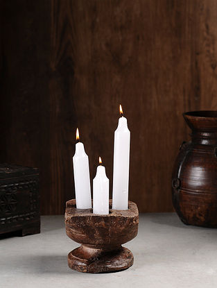 Vintage Hand Carved Wood Seeder Candle Stand (L:5.7in, W:5.7in, H:6.7in )