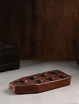 Vintage Hand Carved Wood Seeder Candle Stand (L:14.5in, W:5.7in, H:1.6in )
