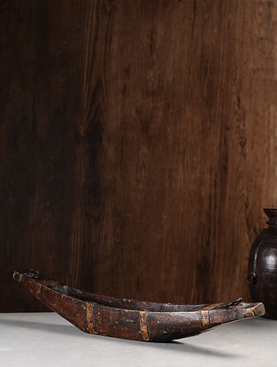 Vintage Hand Carved Wood Bowl (L:30.5in, W:3.5in, H:5.3in )