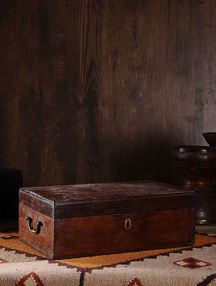 Vintage Hand Carved Wood Cash Box (L:16.5in, W:10.3in, H:5.7in )