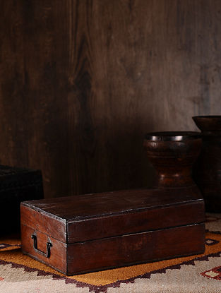 Vintage Hand Carved Wood Cash Box (L:14in, W:9.6in, H:5in )