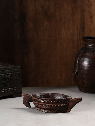 Vintage Hand Carved Wood Bowl (L:11.2in, W:4.1in, H:2.6in )