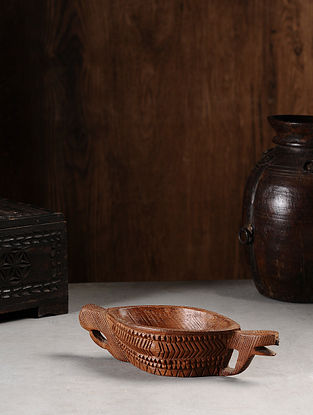 Vintage Hand Carved Wood Bowl (L:11.2in, W:4.2in, H:2.6in )