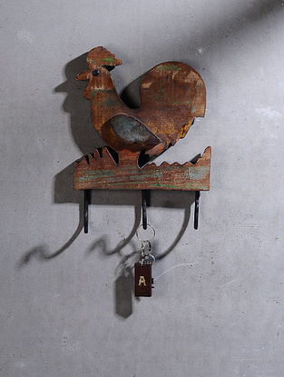 Vintage Hand Carved Recycled Wood Hook with Rooster Motif (L:10.5in, W:7.7in )