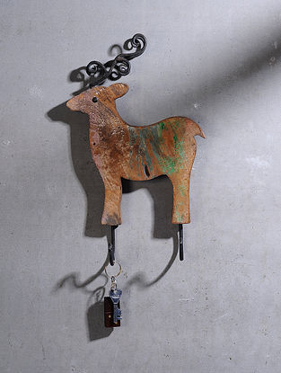 Vintage Hand Carved Recycled Wood Wall Hook with Reindeer Motif (L:14.5in, W:8.5in )
