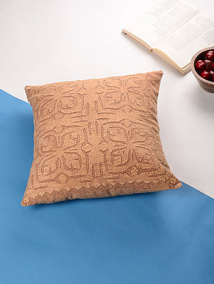 Rust Applique Cotton Cushion Cover (16in x 16in)