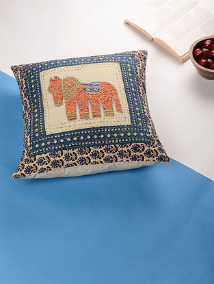 Multicolored Applique Cotton Cushion Cover (16in x 16in)