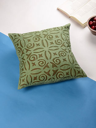 Olive Green Applique Cotton Cushion Cover (16in x 16in)