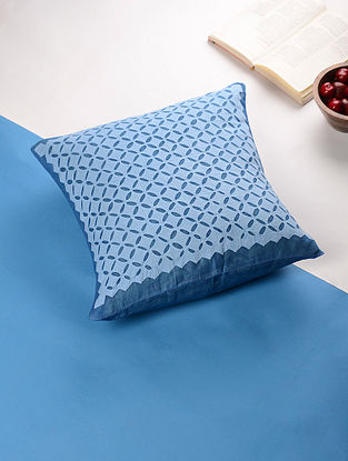 Blue Applique Cotton Cushion Cover (16in x 16in)