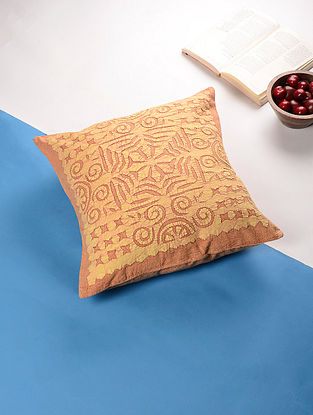 Beige Applique Cotton Cushion Cover (16.5in x 16.5in)