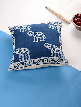 Blue-White Hand Block Printed Cotton Cushion Cover (16in x 16in)