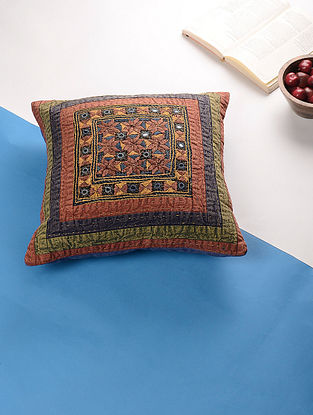 Multicolored Hand Embroidered Cotton Cushion Cover (16in x 16in)