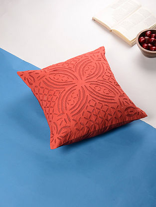Red Applique Cotton Cushion Cover (16in x 16in)
