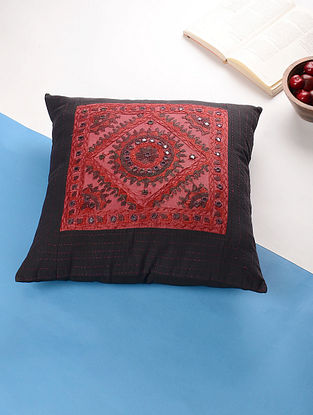 Black-Magenta Hand Embroidered Cotton Cushion Cover (17in x 17in)