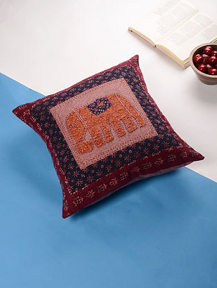 Multicolored Cotton Applique Cushion Cover (16in x 16in)