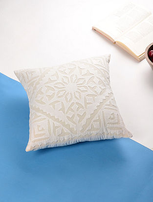 Off-White Applique Cotton Cushion Cover (14in x 14in)