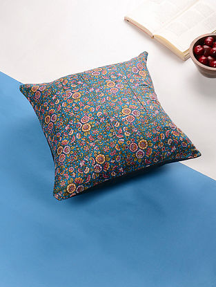 Multicolored Art Silk Printed Cotton Cushion Cover (15.5in x 15.5in)