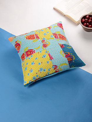 Multicolored Kantha Cotton Cushion Cover (16in x 16in)