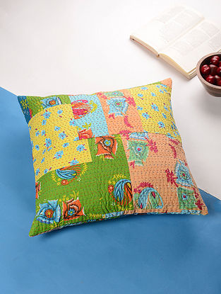 Multicolored Kantha Cotton Cushion Cover (17.5in x 17.5in)