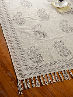 Grey-Off White Hand Block Printed Cotton Dhurrie (3.3ft x 3ft)