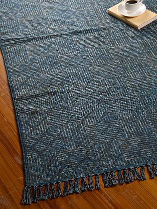 Indigo Hand Block Printed Cotton Dhurrie (5.9ft x 4.4ft)
