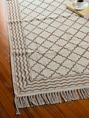 Brown-Off White Hand Block Printed Cotton Dhurrie (5.2ft x 3ft)