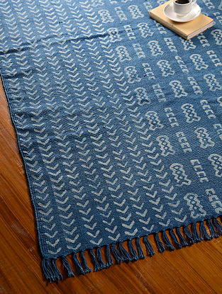 Blue Hand Block Printed Cotton Dhurrie (6.1ft x 4.4ft )