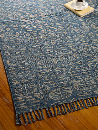 Blue-Grey Hand Block Printed Cotton Dhurrie (6.1ftx 4ft)