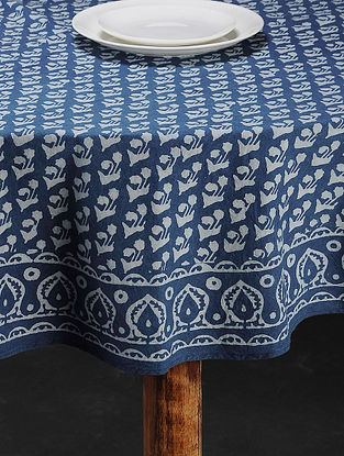 Indigo Hand Block Printed Cotton Table Cover(L:64in, W:64in)