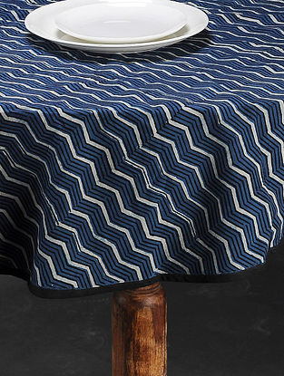 Indigo Hand Block Printed Cotton Table Cover(L:57in, W:57in)