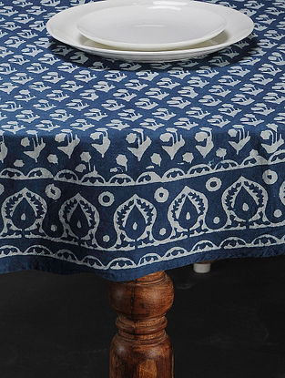 Indigo Hand Block Printed Cotton Table Cover(L:58in, W:58in)