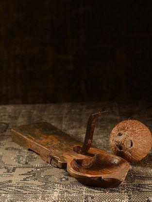 Brown Wood Vintage Coconut Scraper (L- 17.6in, W- 5in, H- 6in)