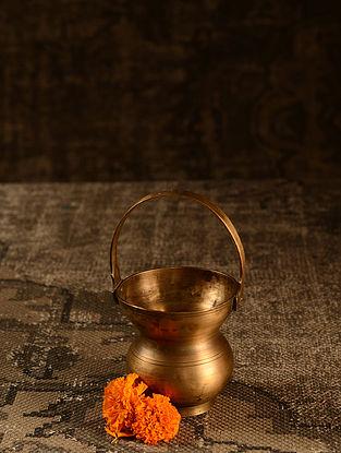 Golden Brass Vintage Karmandal Pot (L- 3.6in, W- 3.6in, H- 7in)