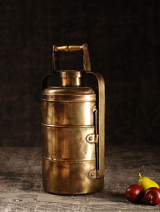 Golden Brass Vintage Tiffin Box (L- 5.5in, W- 5.3in, H- 13.5in)
