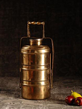 Golden Brass Vintage Tiffin Box (L- 5.3in, W- 5.3in, H- 14.2in)